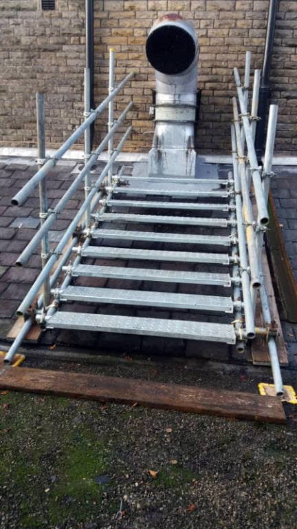 Commercial Scaffolding Stairs to Outlet Pipe
